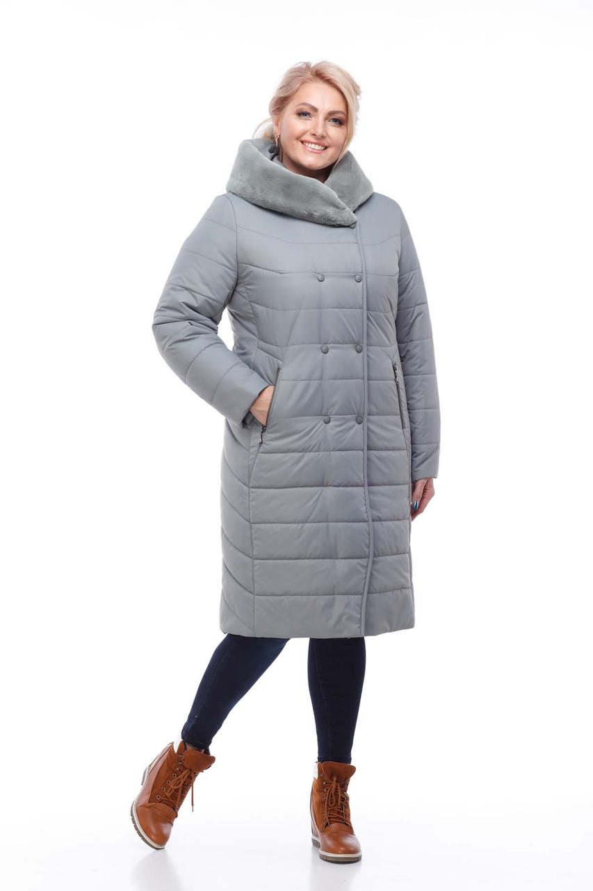 Удлиненный зимний пуховик  большие размеры с мехом на капюшоне  размеры 52-60