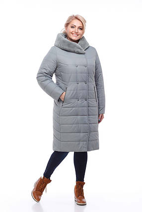 Удлиненный зимний пуховик  большие размеры с мехом на капюшоне  размеры 52-60, фото 2