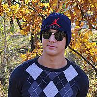 Стильная мужская шапка Nike Jordan синяя Турция Найк Джордан Хайповая Модная зима VIP Молодежная реплика