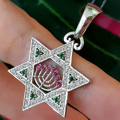 Женский серебряный кулон Звезда Давида и Менора