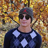 Молодежная мужская шапка Nike Jordan хаки Турция Найк Джордан Хайповая Крутая зима VIP Трендовая реплика