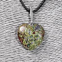 Кулон сердечко с зеленой яшмой, серебро, 1191КЛЯ
