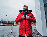 Куртка с капюшоном мужская зимняя OFF-WHITE FULL RED 2019 (реплика), фото 1