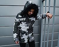 Куртка с капюшоном мужская зимняя OFF-WHITE CAMO GREY (реплика), фото 1