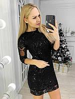 Вечернее платье из сетки с набивным гипюром р. С-Л
