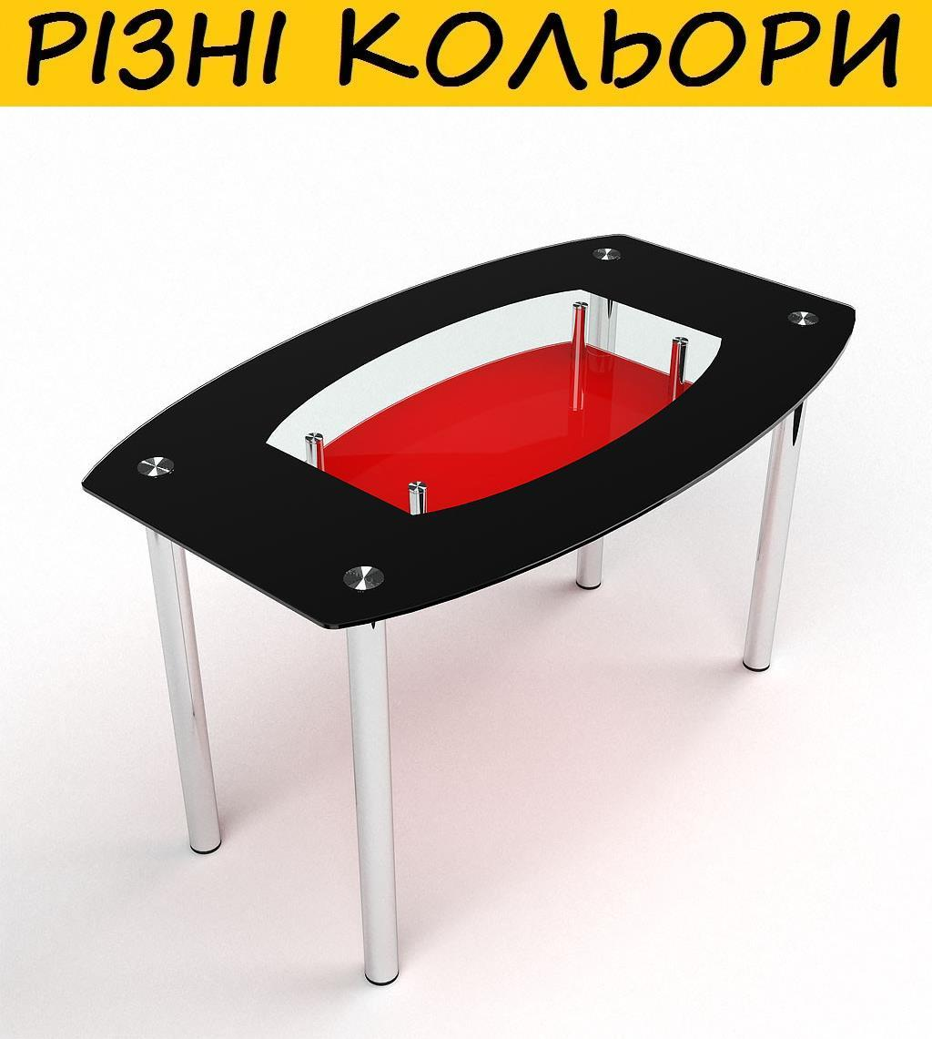 Стол кухонный стеклянный Бочка с полкой. Цвет и размер можно изменять. Возможна также фотопечать и матировка.