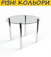 Стол кухонный стеклянный Круглый прозрачный. Цвет и размер можно изменять. Есть фотопечать и матировка.