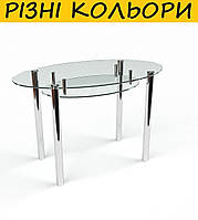 Стол кухонный стеклянный Овальный прозрачный с полкой. Цвет и размер можно изменять. Есть матировка.