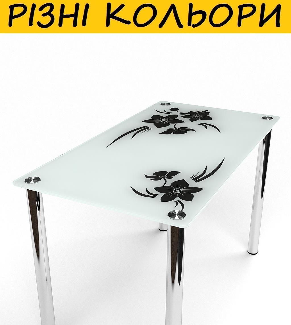 Стол кухонный стеклянный Магнолия. Цвет и размер можно изменять. Есть фотопечать и матировка.