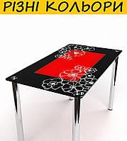 Стол кухонный стеклянный Маки S-1. Цвет и размер можно изменять. Есть фотопечать и матировка.
