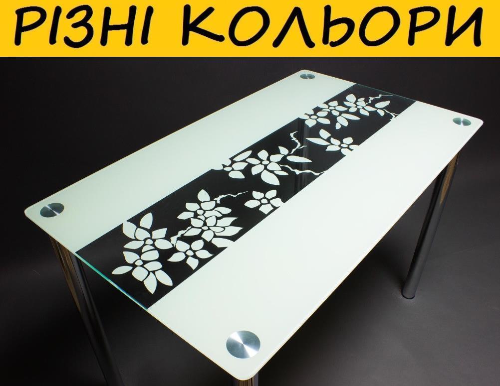 Стол кухонный стеклянный Цветы рая. Цвет и размер можно изменять. Возможна фотопечать и матировка.