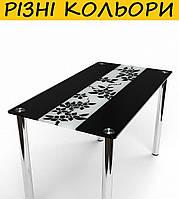Стол кухонный стеклянный Цветы рая черно-белый. Цвет и размер можно изменять.