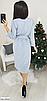 Красивое платье с пояском из двунитки, размеры: 42-44, 46-48, черный, серый, электрик, св.серый, бордовый, фото 3
