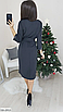 Красивое платье с пояском из двунитки, размеры: 42-44, 46-48, черный, серый, электрик, св.серый, бордовый, фото 5