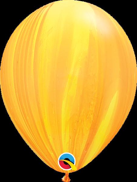 "Воздушные Шары Qualatex 11"" (28 см), Супер Агат Yellow Orange Rainbow, Жёлтый/Оранжевый"