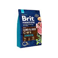 Корм сухой Брит Премиум Brit Premium Dog Sensitive Lamb  1 кг с ягненком и рисом для собак всех пород