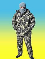 Костюм зимний Куртка темный пиксель утепленный + штаны на флисовой подкладке.