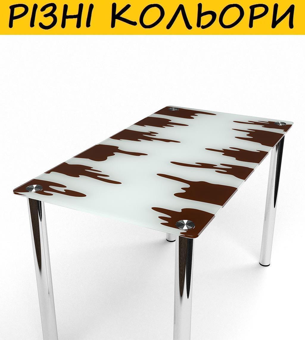 Стол кухонный стеклянный Шоколадный. Цвет и размер можно изменять. Возможна фотопечать и матирование.