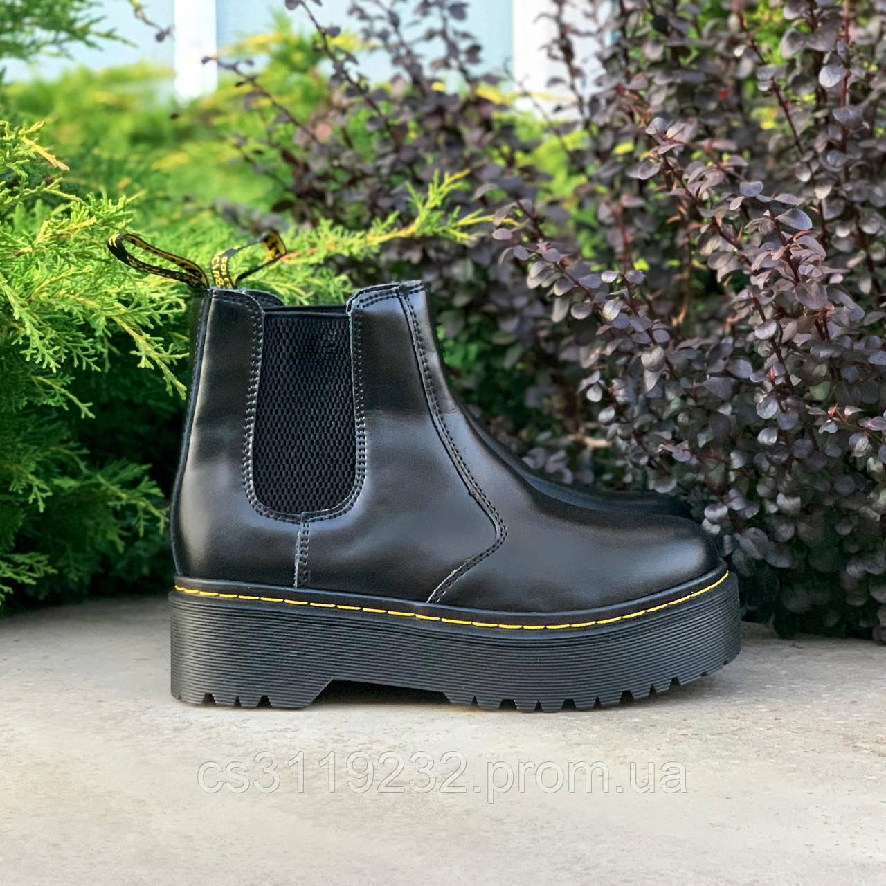 Женские ботинки зимние Dr.Martens Chelsea Black (мех) (черный)   (мех) (черный)