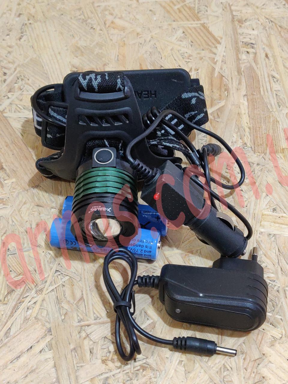 Аккумуляторный налобный фонарь Bailong BL-2189-2 ультрафиолет