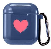 Чехол для AirPods/AirPods 2 silicone case Love с карабином blue