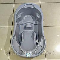 Детская анатомическая ванночка Комфорт, встроенная горка, слив, термометр, Tega baby