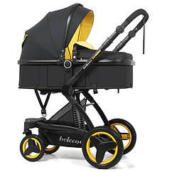 Коляска Belecoo Черно-желтая, рама черная