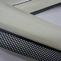 Корсажная лента для брюк. Ширина 6 см. Молочная основа, графитовый кант и сетка