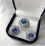 Гарнитур в серебре с голубым цирконом Виолет, фото 2