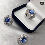 Гарнитур в серебре с голубым цирконом Виолет, фото 3