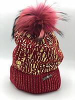 Шапка для девочки зимняя опыление с помпоном Nikola Украина красная 18Z-73