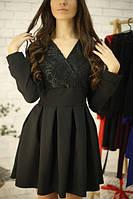 Платье с кружевом, мини с пышной юбкой