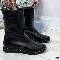 39 р. Ботинки женские зимние черные кожаные на низком ходу, из натуральной кожи, натуральная кожа, фото 1