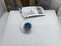 Серебряный шарм в стиле Pandora голубой
