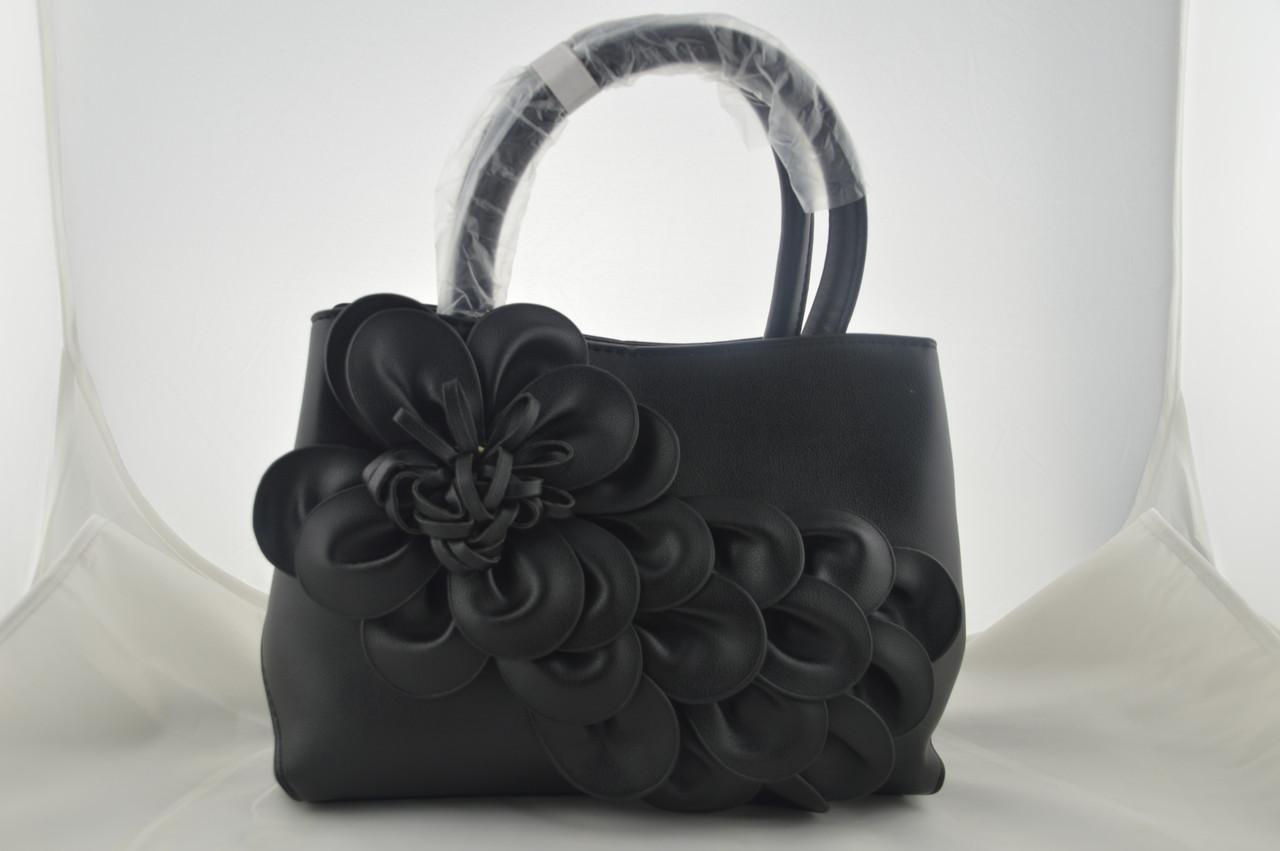 Черная женская сумка с цветком из эко кожи