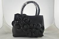 Черная женская сумка с цветком из эко кожи, фото 1
