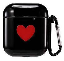 Чехол для AirPods/AirPods 2 silicone case Love с карабином black