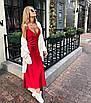Шелковое платье комбинация миди на бретелях бежевое айвори шампань белое бельевой стиль, фото 3