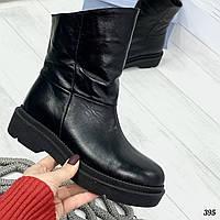 38 р. Ботинки женские зимние черные кожаные на низком ходу, из натуральной кожи, натуральная кожа
