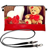 Клатч Moderika Lady красный с рисунком Мишка плюшевый (44168)