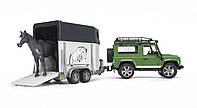 Игрушка - машинка Bruder  джип  Land Rover Defender с прицепом для перевозки лошадей + лошадка-М1:16-02592