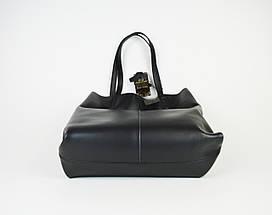 Сумка шопер чорна Polina&Eiterou 805 шкіра, фото 2