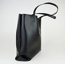 Сумка шопер чорна Polina&Eiterou 805 шкіра, фото 3