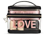 4 в 1 Набор Косметичек Victoria's Secret Beauty Bag Set, Розовое золото с черным