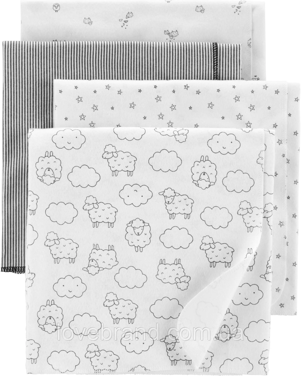 """Байковые пеленки для новорожденных Carter's """"Баранчики"""", фланелевые пелёнки 102*76 см"""