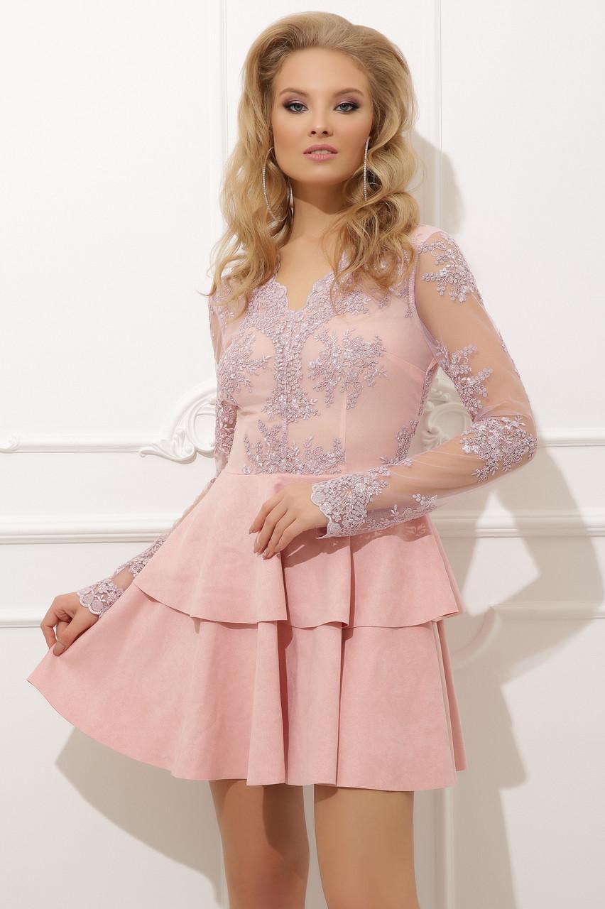 Роскошное нарядное платье Илона из кружева с пышной юбкой из искусственной замши