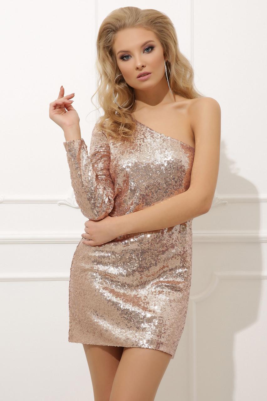 Облегающее платье с пайетками Констанс-2 с одним рукавом