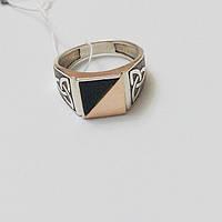 Кольцо из серебра с золотом и обсидианом Майкл, фото 1
