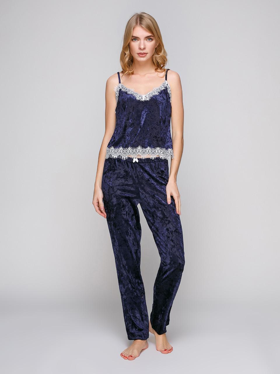 Пижама из мраморного велюра Serenade синияя с кружевом