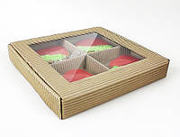 """Коробка с окошком  """"Натуральная"""" 4-7 изделий, фото 1"""